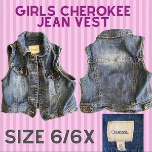 Girls Cherokee Blue Jean Vest. Size 6/6X